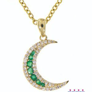 Emerald Half Moon Diamond Pendant Yellow Gold